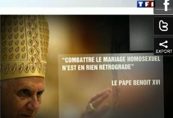 Dans son JT, TF1 fait dire à Benoît XVI ce qu'il n'a pasdit