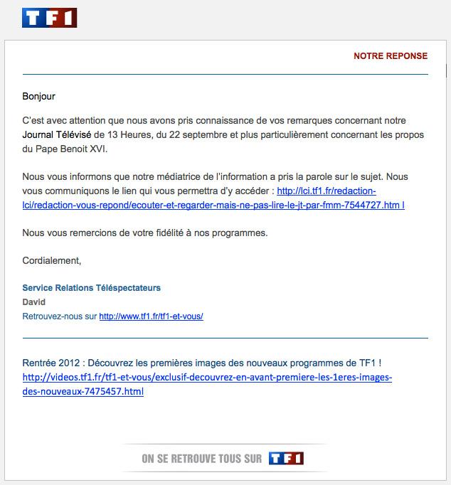 TF1, le pape et Claire Chazal
