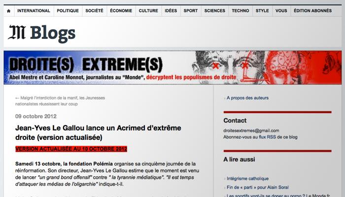 L'inquisition médiatique, Le Monde et l'Ojim