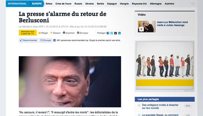 Berlusconi : la presse française unanime