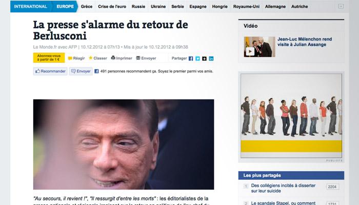 La presse française unanime contre le retour de Berlusconi