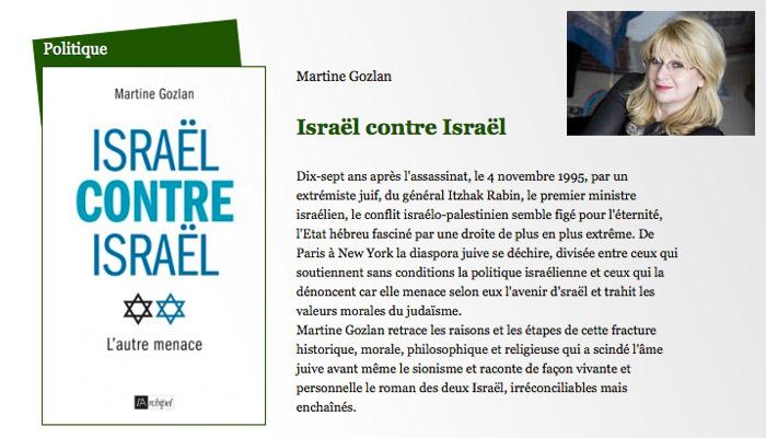 Martine Gozlan publie Israël contre Israël