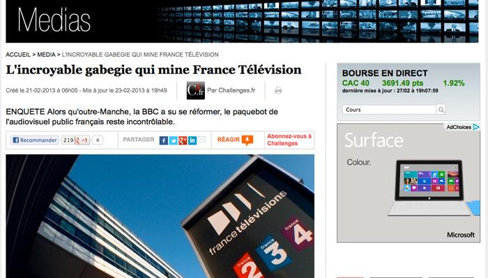 France Télévisions, « un bateau échoué au bord de la Seine » ?