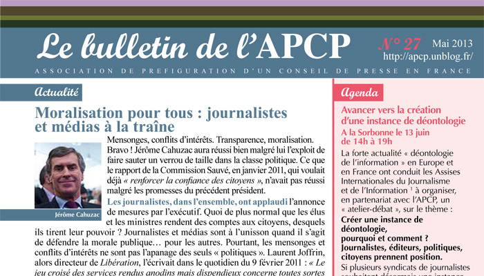 Parution du bulletin de l