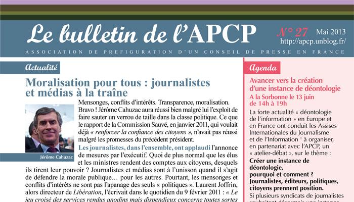 Parution du bulletin de l'APCP