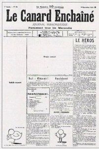 Le Canard Enchaîné est né de cette contestation de la censure. Il parait pour la première fois le 10 septembre 1915. Il cessera sa parution en octobre pour reprendre en juillet 1916. Sur l'image ci-contre, on peut voir les « blancs » laissés après le passage de la censure, ou « Anastasie » avec des grands ciseaux.