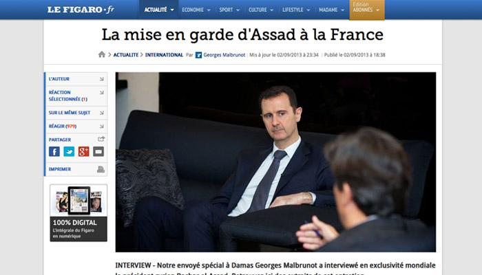 Interview d'Assad : Le Figaro défend sa position