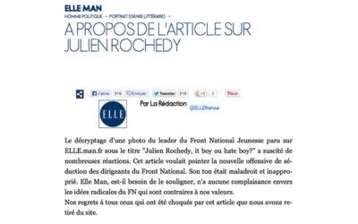 « Elle Man » publie puis censure un article sur Julien Rochedy