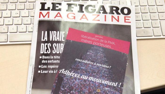 Un bulletin d'adhésion à la Manif pour tous dans le Figaro Magazine