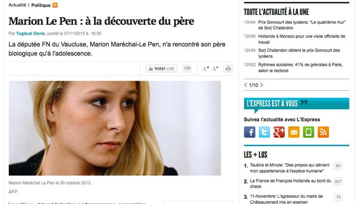 Vie privée de Marion Le Pen : les arroseurs arrosés…