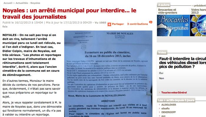 Noyales : Un maire contre la liberté de la presse ?