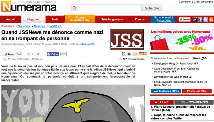 Quenelle : JSS News dénonce par erreur un jeune journaliste