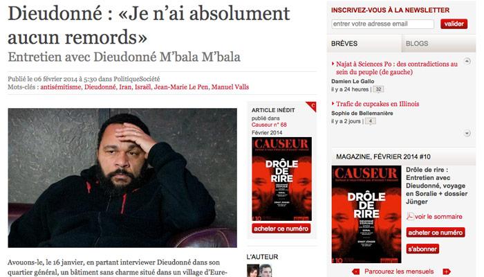 Interview de Dieudonné dans Causeur : Frédéric Haziza dézingue Élisabeth Lévy