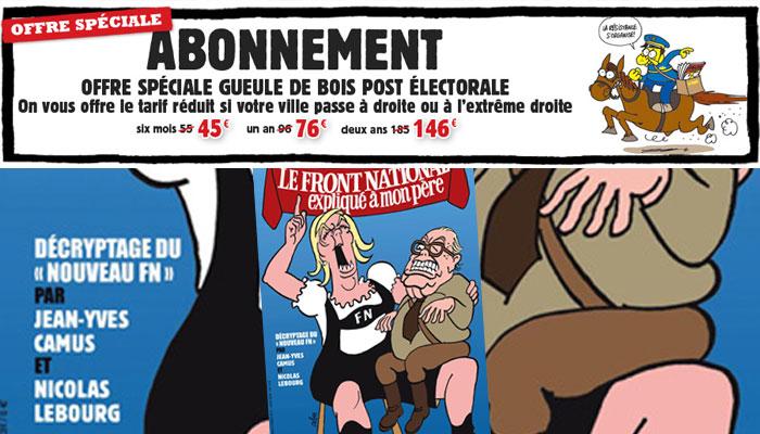 Charlie Hebdo brade ses abonnements dans les villes UMP et FN
