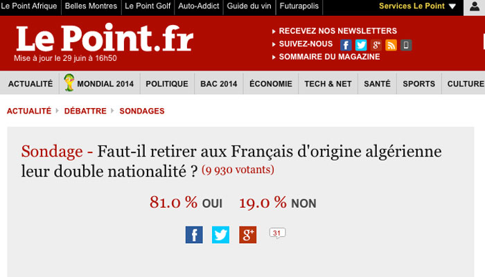 Double nationalité : Le Point retire un sondage sous la pression