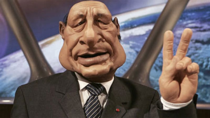 « 1 kilo et demi de shit » dans la marionnette de Jacques Chirac