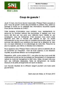 Philippe Palat s'emporte sur le plateau de l'émission ACTU, se mettant à dos le Syndicat National des Journalistes qui le rappelle à l'ordre dans une lettre publique.