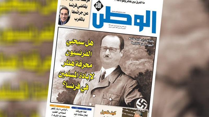 Hollande grimé en Hitler en couverture d