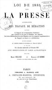 Loi de 1881 sur la presse. Source : gallica.bnf.fr