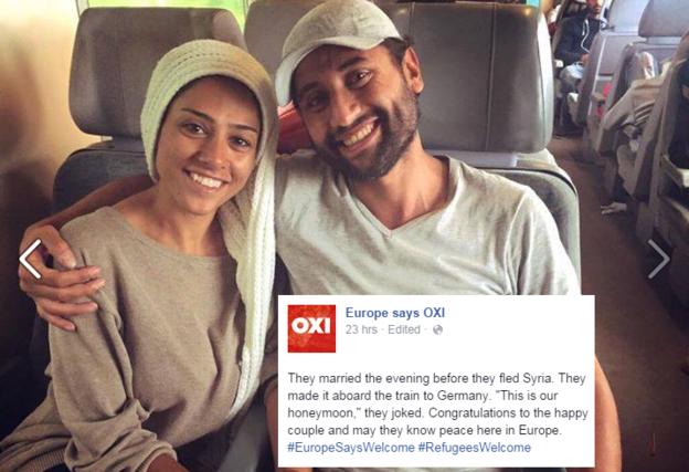 Et cette autre photo d'un couple rayonnant de joie et de beauté enlacé dans un train ?