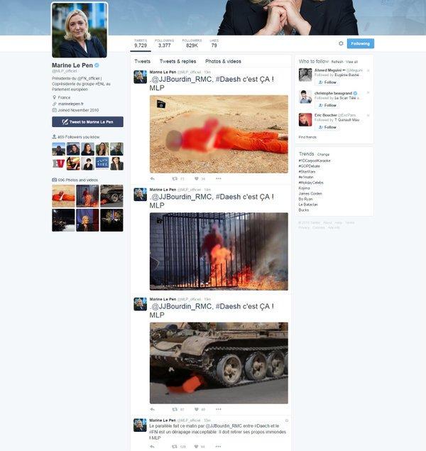 Daech et FN, même combat : la colère de Marine Le Pen