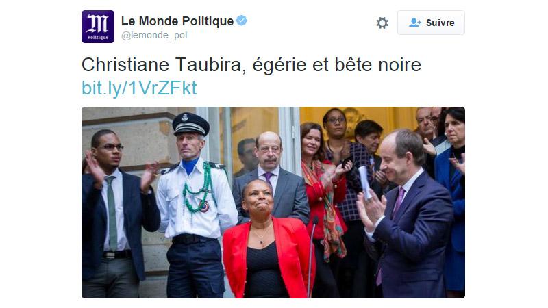 Le Monde change son titre après avoir qualifié Taubira de « bête noire »