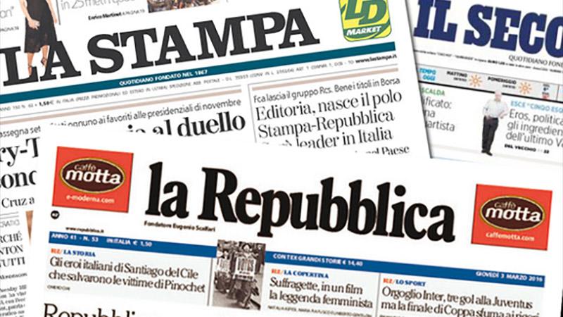 Italie : La Repubblica et La Stampa fusionnent