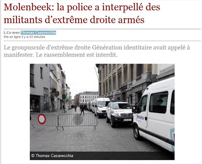 Molenbeek: la police a interpellé des militants d'extrême droite armés... d'un spray lacrymogène !