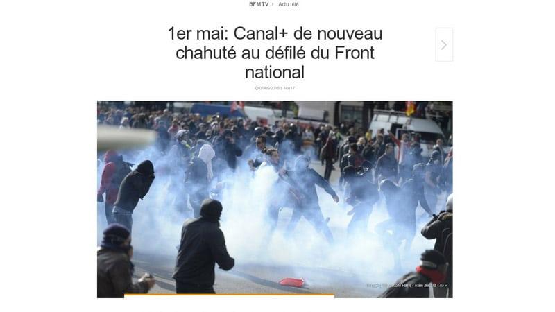 Double manipulation par l'image et par le titre de BFMTV lors du défilé du FN du 1er mai 2016
