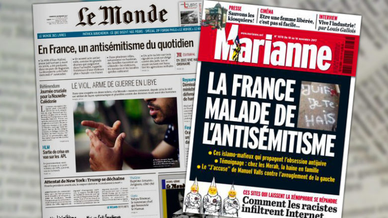 Antisémitisme en France ? Le Monde 0 / Marianne 1 !