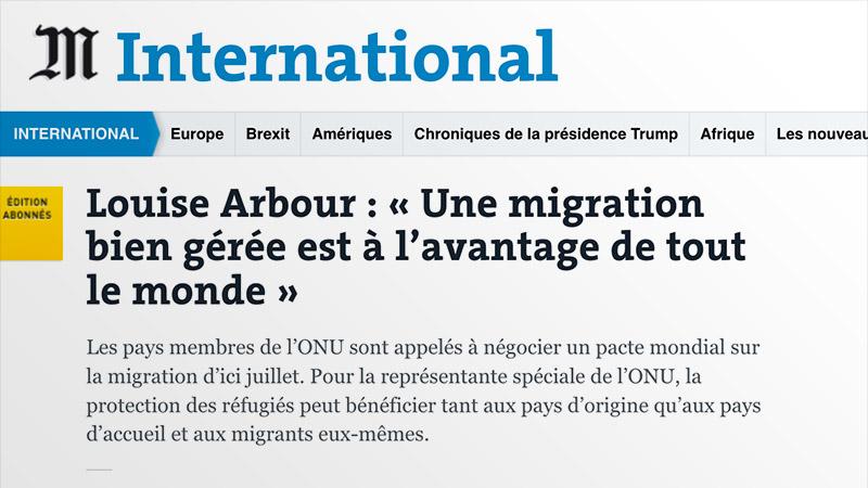 L'ONU via Le Monde : « une migration bien gérée est à l'avantage de tout lemonde»