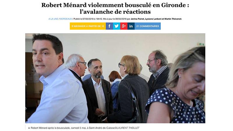 Silence, on frappe Ménard = réactions des médias après l'agression du maire de Béziers