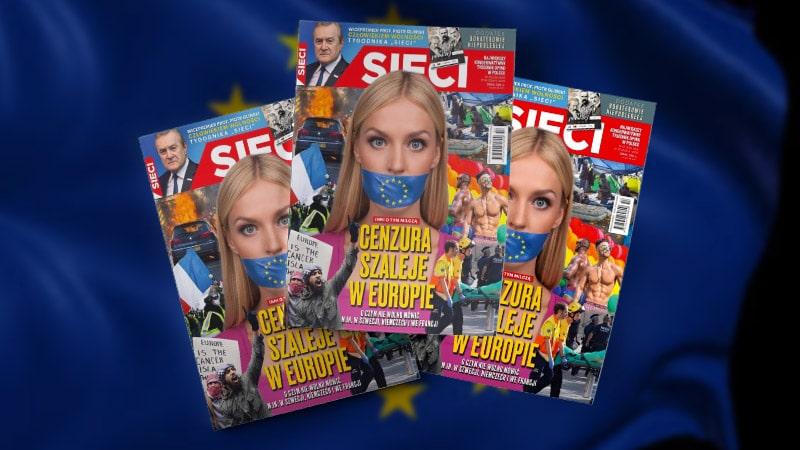 La couverture-choc d'un grand hebdomadaire polonais sur la censure qui sévit en France, en Allemagne et enSuède