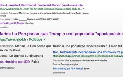 Invitation au fact checking de Google