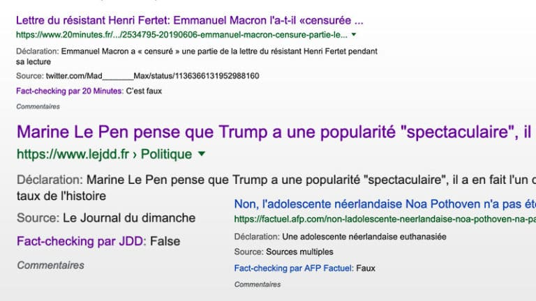 Invitation au fact checking de Google