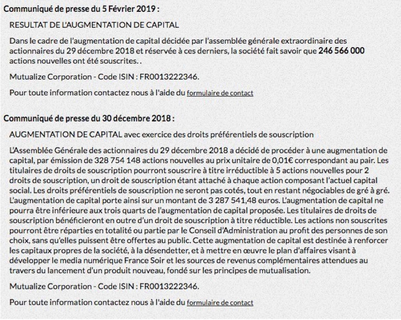Communiqué de presse du groupe France soir du 30 décembre 2018 et du 5 février 2019