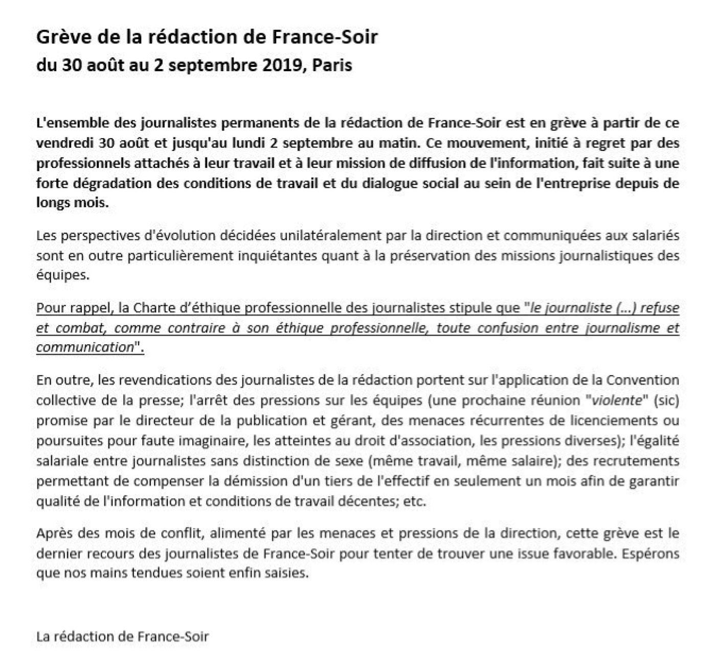 France Soir en grève