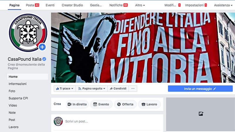 Censure : CasaPound 1 / Facebook 0