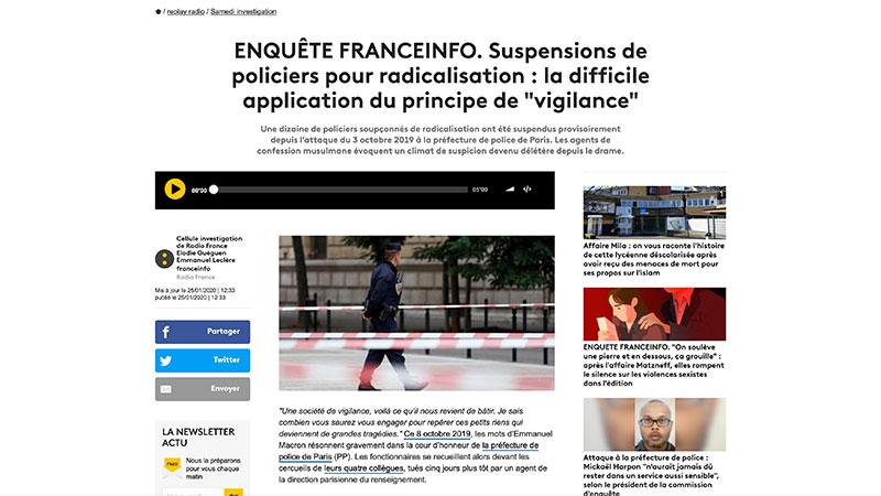 Franceinfo s'inquiète pour les policiers musulmans