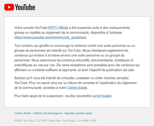 ERTV censuré sur YouTube