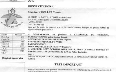 Procès Ramzi Khiroun contre Ojim/Claude Chollet : première audience le 7 octobre 2020