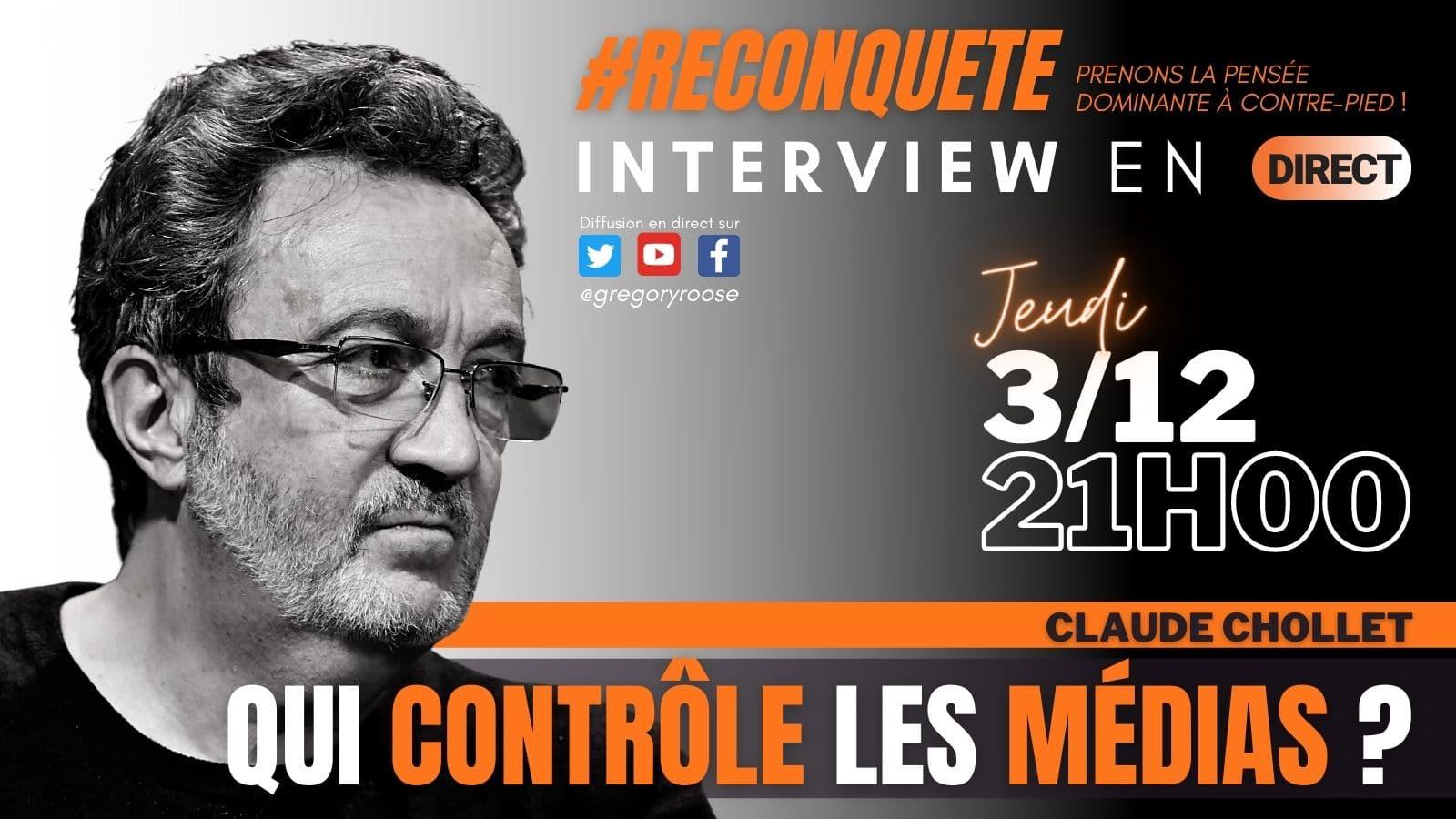 """Ce soir à 21h, Claude Chollet, président de l'Ojim, sera interviewé par Gregory Roose sur """"Reconquête"""""""