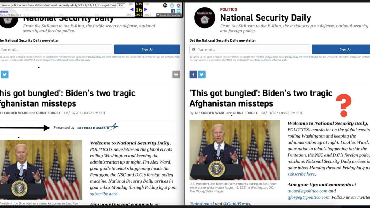 Un exemple d'influence de l'industrie d'armement sur les médias, Politico et Lockheed Martin